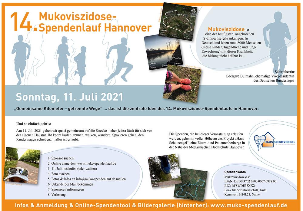 Alle Informationen zum 14. Muko-Spendenlauf Hannover 2021, Ablauf, Spendenkonto, Mukoviszidose
