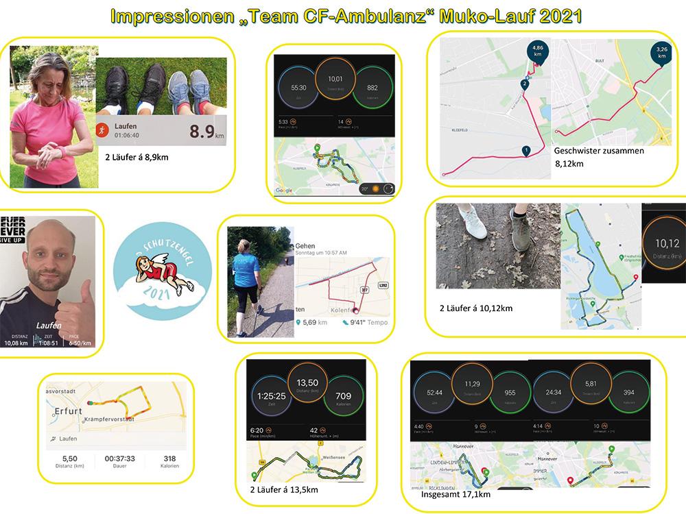 Fotocollage mit Fotos und gelaufenen Strecken von neun Läuferinnen und Läufern