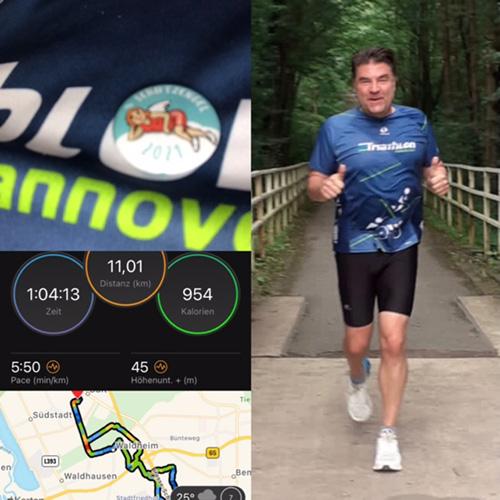 Muko-Spendenlauf 2021 - Fotocollage mit Schutzengelbutton, Zeit- und Kilometerangabe, Streckenverlauf und Lauffoto von Christian