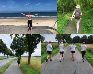 Collage aus vier Fotos von insgesamt sieben Läuferinnen und Läufern von hinten - am Strand, im Wald, entlang der Strasse und auf dem Feldweg