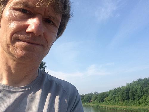 Muko-Spendenlauf 2021 - Selfie von Sebastian am Mittellandkanal