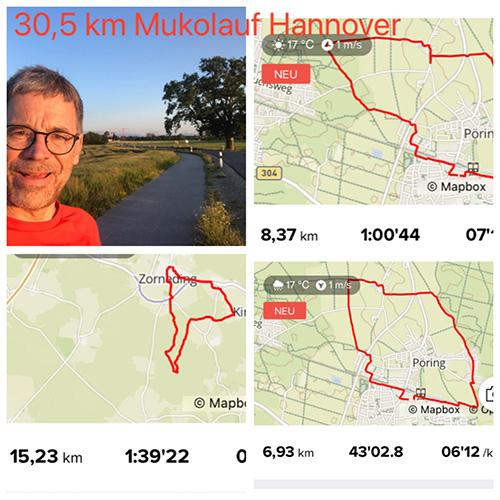 Muko-Spendenlauf 2021 - Collage: Selfie von Stephan und drei verschiedene Strekcen und eine Überschrift: 30,5 km Mukolauf Hannover