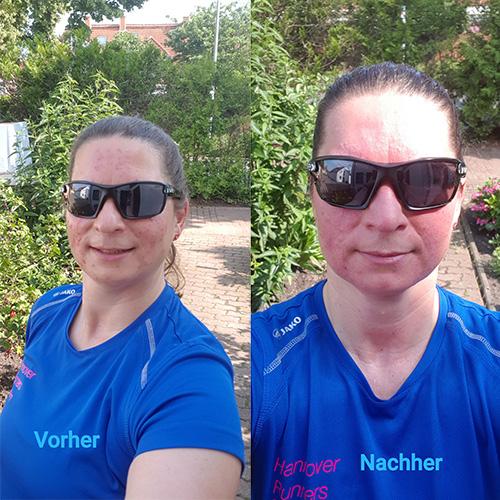 Muko-Spendenlauf 2021 - 2 Selfies von Susann, einmal vor und einmal nach dem Lauf